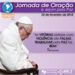 PAPA CONVOCA JORNADA DE ORAÇÃO E JEJUM PELA PAZ